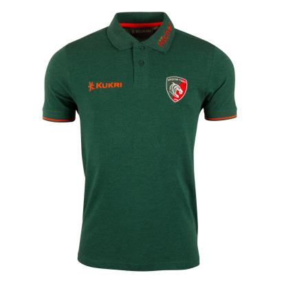 Leicester Tigers Pique Polo Light Marl 2018 - Front