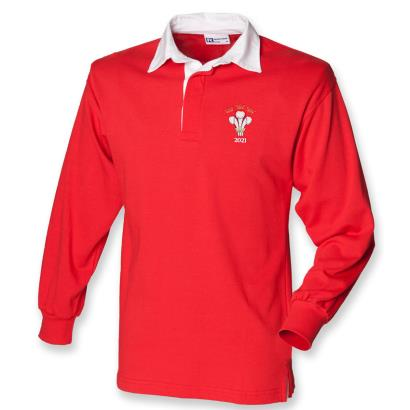 Wales 2021 Triple Crown Winners Classic Rugby Shirt L/S Red - Front