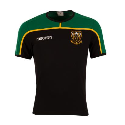 Northampton Saints Players Polycotton Tee Black 2019 - Front