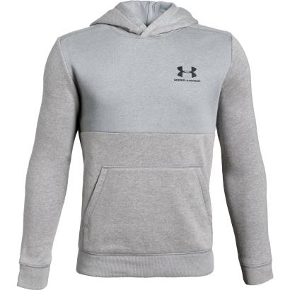 Under Armour Cotton Fleece Pullover Hoodie Steel Kids - Front