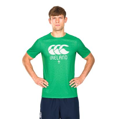 Rugby World Cup 2019 Ireland Supporters Poly Tee Green Marl front 1