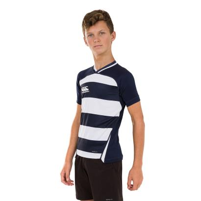 Canterbury Teamwear Hooped Evader Rugby Shirt Navy/White Youths - Model 1