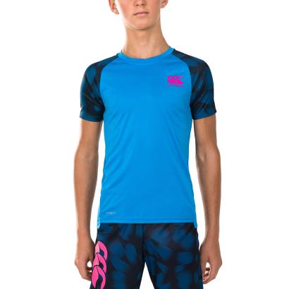 Canterbury Vapodri Patterned Sleeve Tee Blue Aster Youths - Model