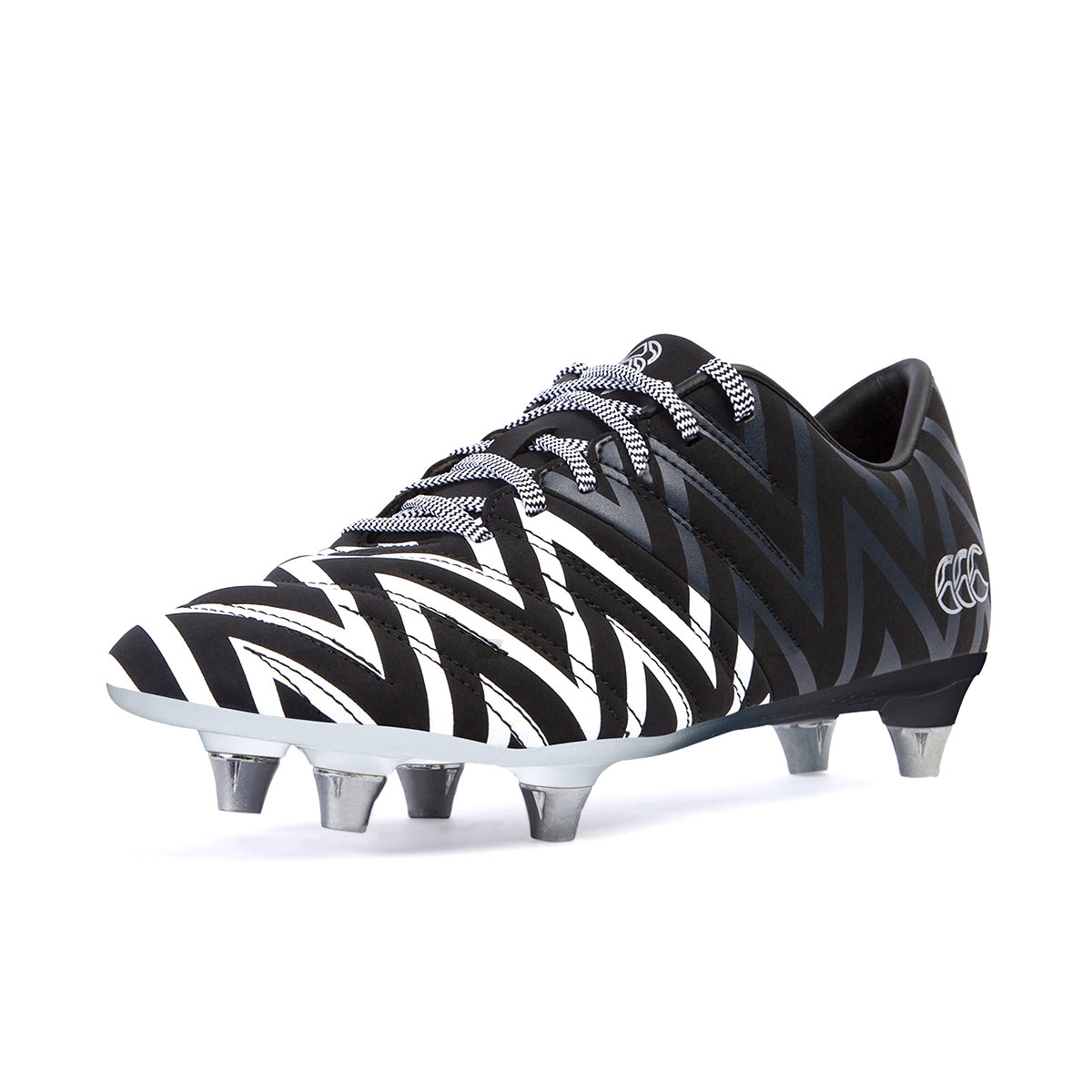 40a75947f63802 Kids Black and White Canterbury Phoenix 2.0 Rugby Boots   rugbystore