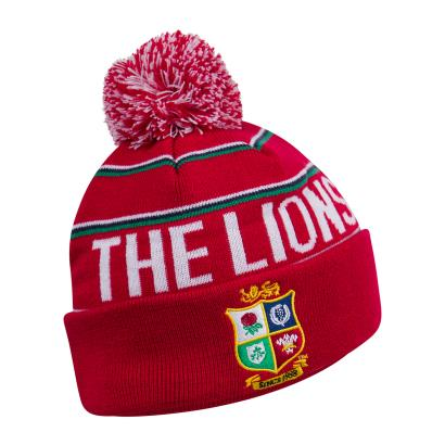 British and Irish Lions 2021 Fleece Line Bobble Hat Tango Red - Front