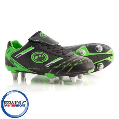 Optimum Tribal Rugby Boots Black/Green Kids - Front