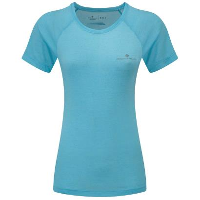 Ron Hill Womens Momentum Tee Neon Peach - Front