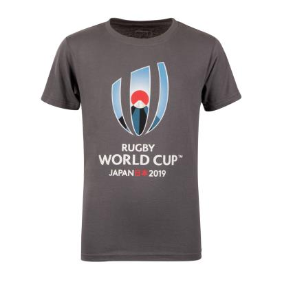 Rugby World Cup 2019 Large Logo Tee Charcoal Marl Kids - Front