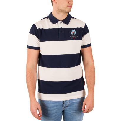 Rugby World Cup 2019 Pique Stripe Polo Navy - Model