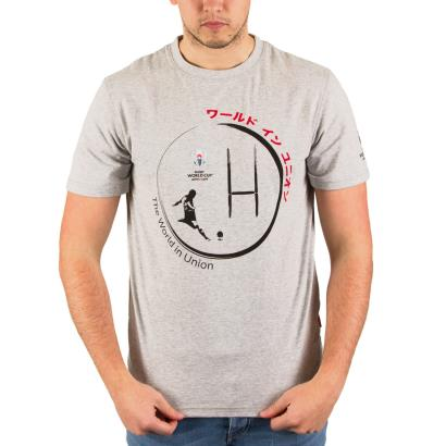 Rugby World Cup 2019 Kick Graphic Tee Light Grey Marl - Model