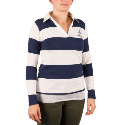 Rugby World Cup 2019 Womens Stripe Rugby Shirt L/S - Model