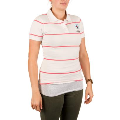 Rugby World Cup 2019 Womens Jersey Stripe Polo White - Model