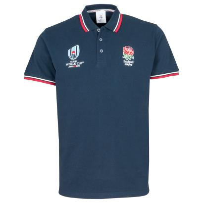 Rugby World Cup 2019 England Classic Pique Polo Navy - Front