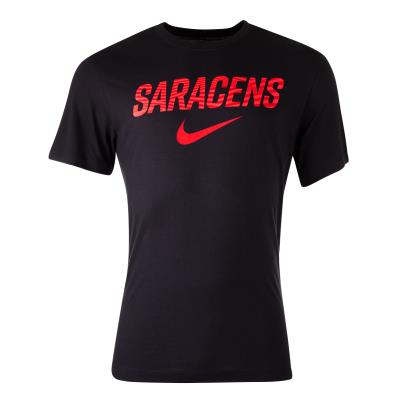 Saracens Graphic Tee Black 2021 - Front