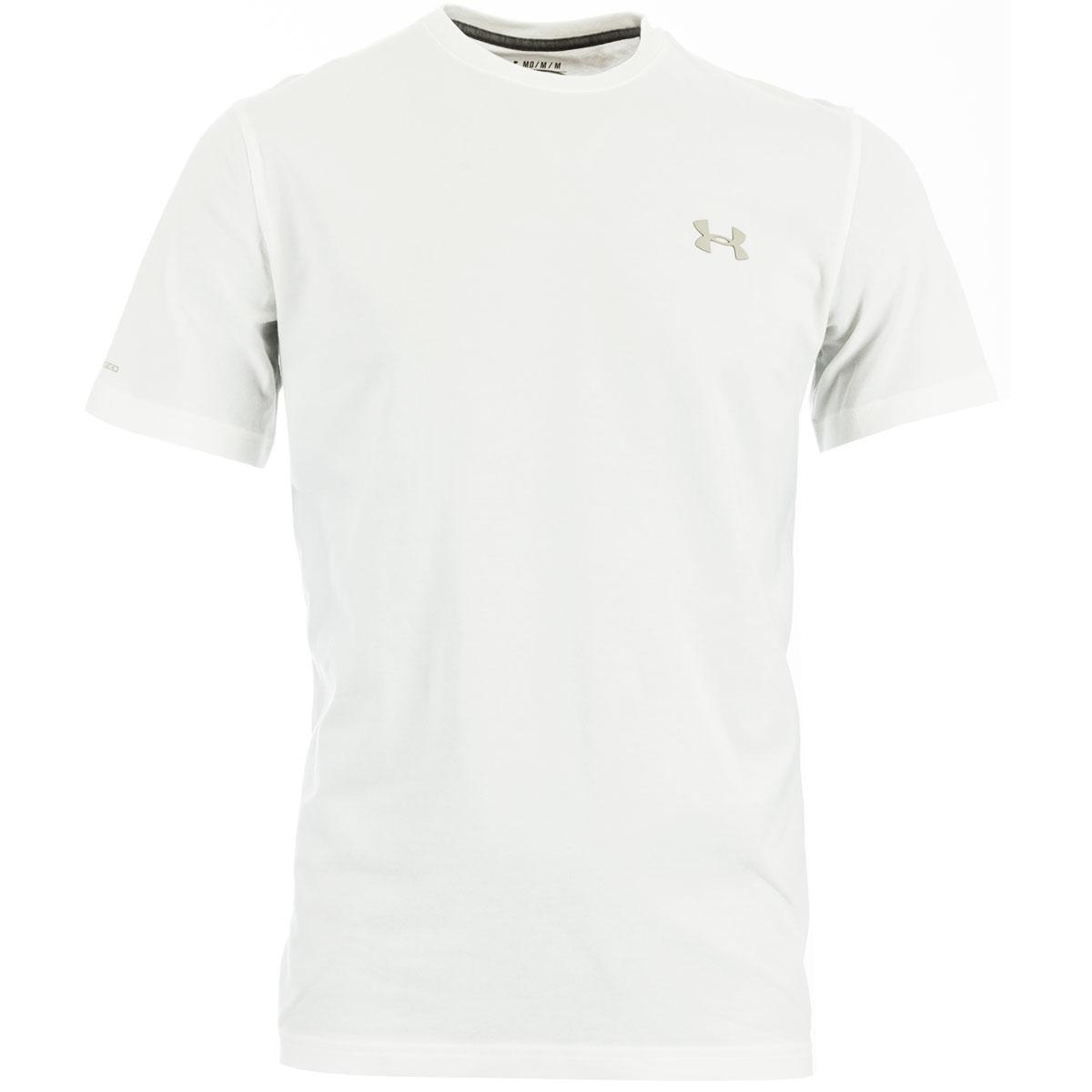 442ad4833 White Under Armour Heatgear Charged Cotton Tee Shirt (Short Sleeve ...