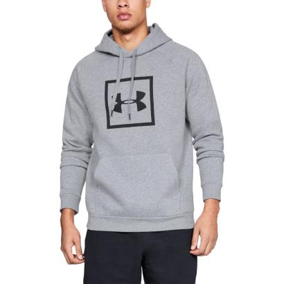 Under Armour Rival Fleece Box Logo Pullover Hoodie Steel - Model 1
