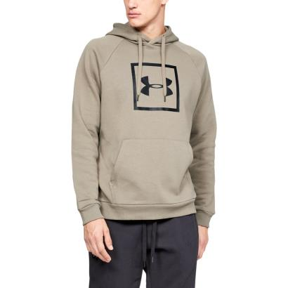 Under Armour Rival Fleece Box Logo Pullover Hoodie Silt Brown -