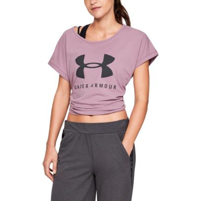 Under Armour Womens Sportstyle Logo Tee Purple Prime - Model 1