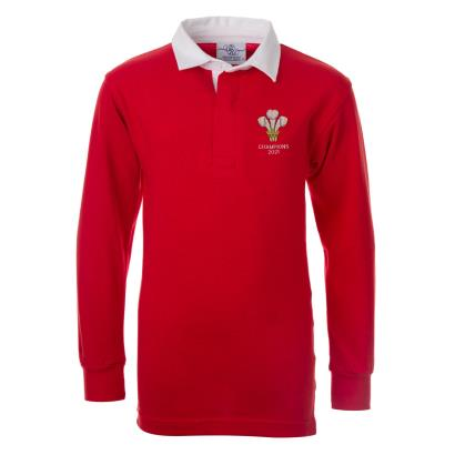 Wales 2021 6 Nations Champions Rugby Shirt L/S Kids - Front