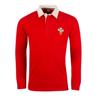 Wales Heavyweight Vintage Rugby Shirt L/S - Front