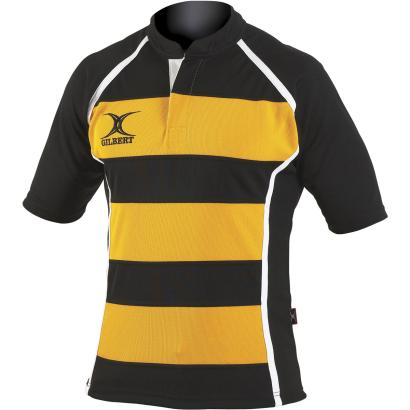 Gilbert Teamwear Xact Hooped Match Shirt Black/Amber - Front