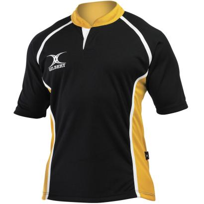 Gilbert Teamwear Xact Panel Match Shirt Black/Amber Kids - Front