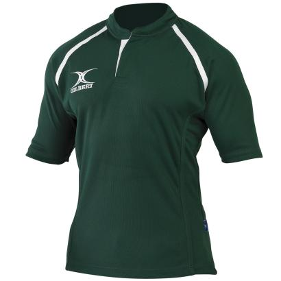 Gilbert Teamwear Xact Plain Match Shirt Green - Front