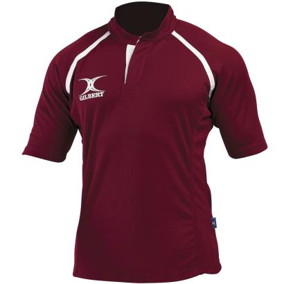 Gilbert Teamwear Xact Plain Match Shirt Maroon Kids - Front